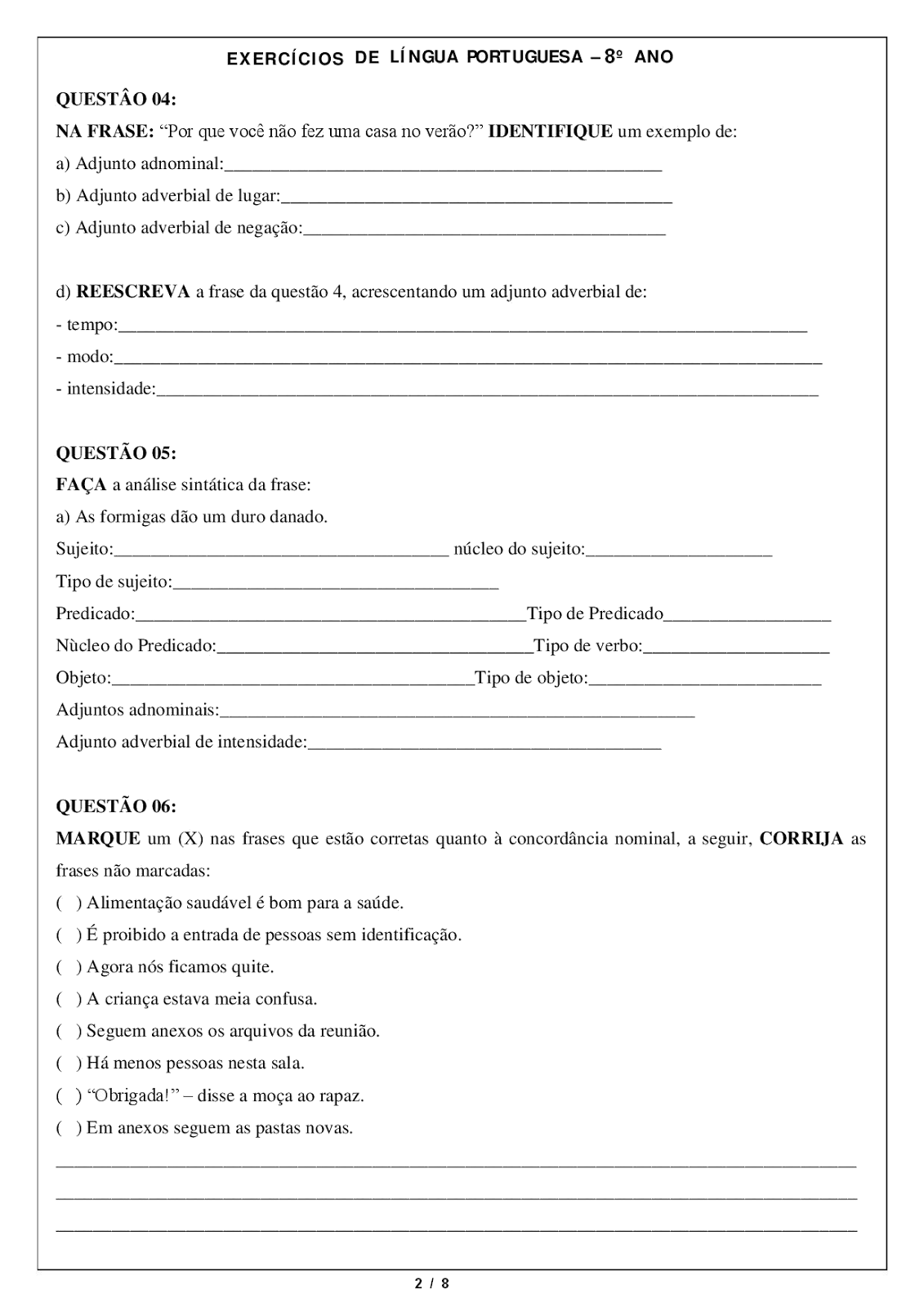 Atividades L 205 Ngua Portuguesa 8 176 Ano Exerc 205 Cios Provas