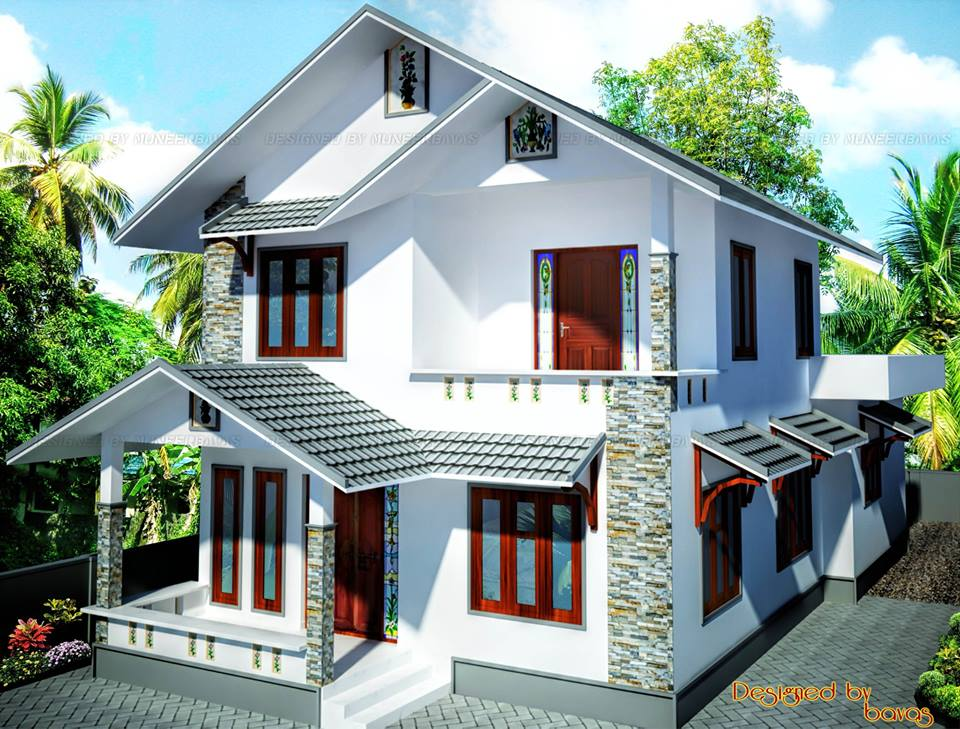 Double floor beautiful kerala home design plan enteveedu for V muraleedharan family