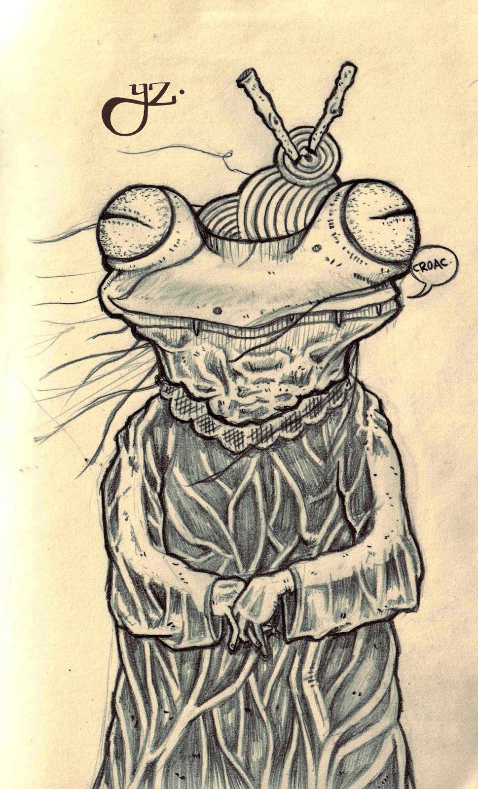 Yunyas: Bocetos a lápiz: Piel Flácida y Rana Anciana