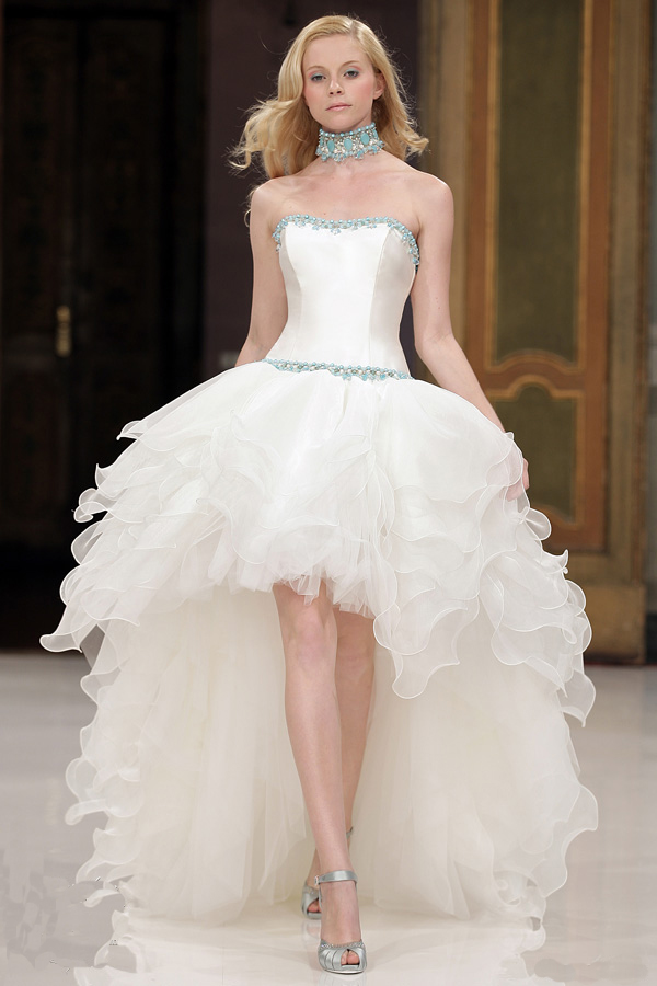 high-low wedding dress with stunning ruffles