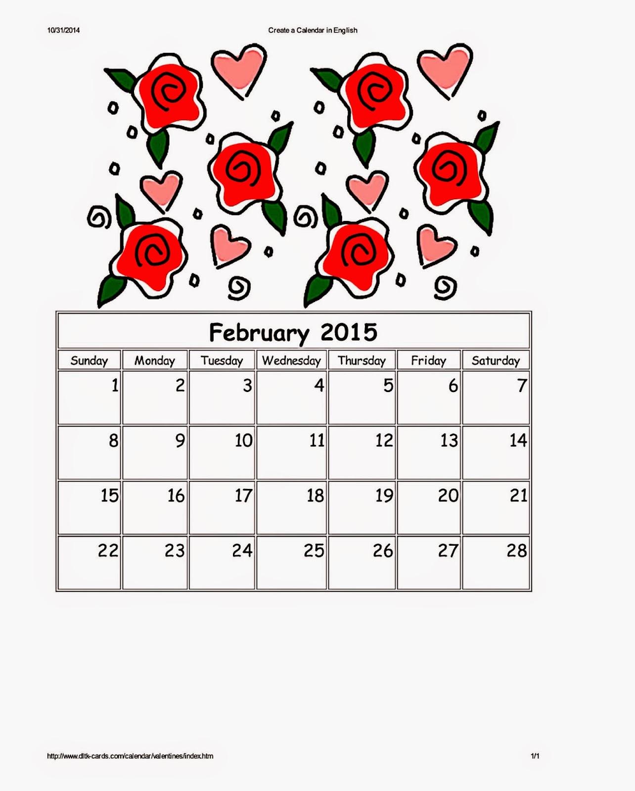 DLTK's Valentine Roses Calendar For February 2015