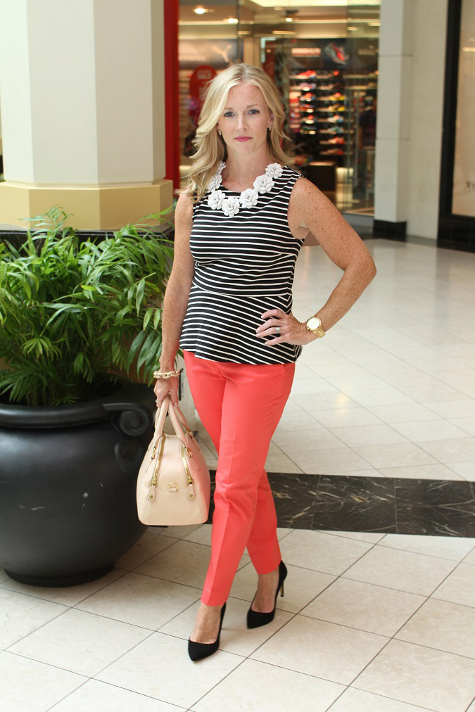 jcrew-style event-jcrew style session- summer-style-peplum-top-polkadot-pants-metallic-wedges-j.crew-rosette-necklace