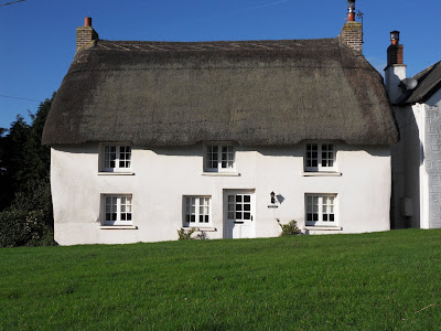 Thatched cottage or house at Veryan Green, Cornwall