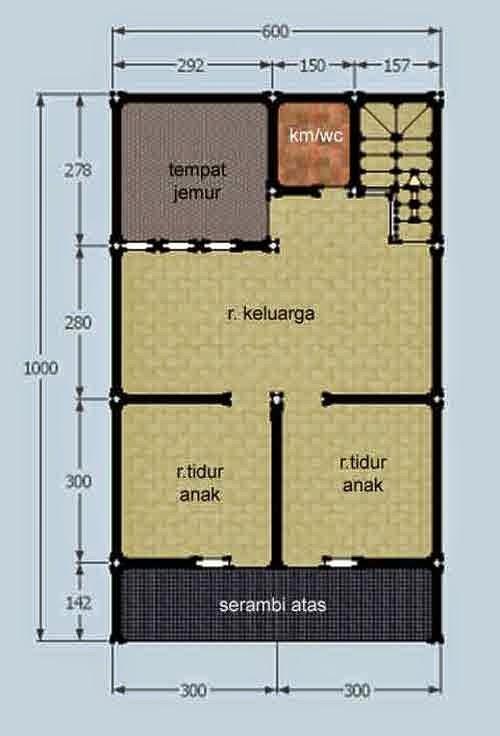 Rumah 2 Lantai 3 Kamar Tidur - Denah 02