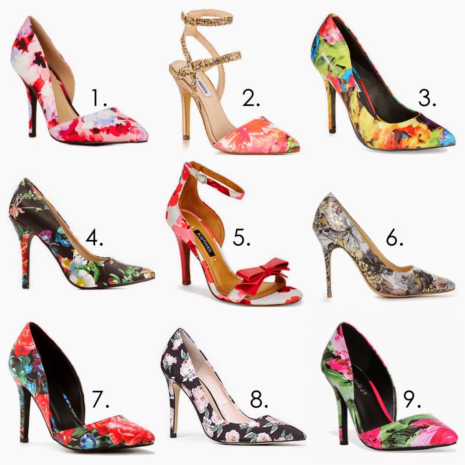 Floral Heels Wishlist, floral pointed heels, pointed flower heels, d'orsay floral shoes, floral accessories, floral shoes, patterned heels, charlotte russe floral heels, rose shoes, rose print shoes, floral strappy heels