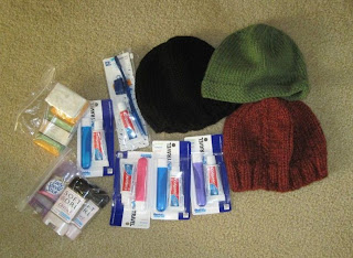knitted hats and personal care items for homeless