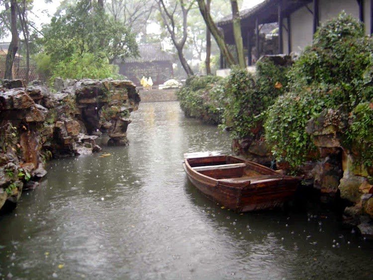 Rain Picture With Boat and Home