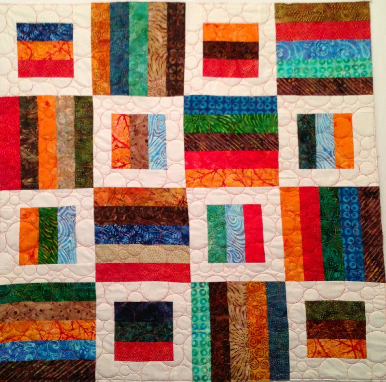 Debra Dennett's Batik Boxes in White Quilt