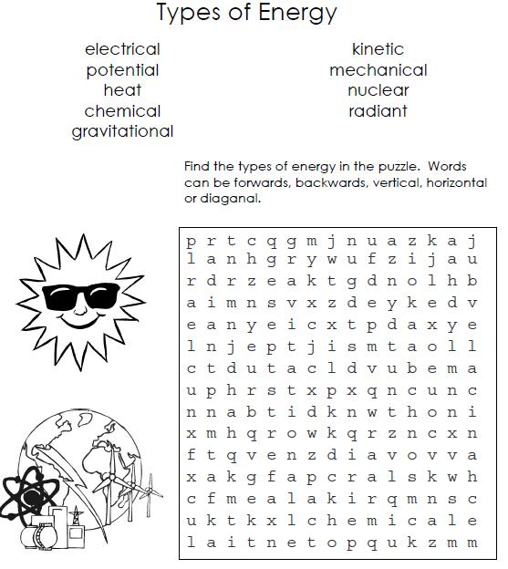 Free Worksheets types of energy worksheet answers : SAINS UPSR: TYPES OF ENERGY WORD SEARCH