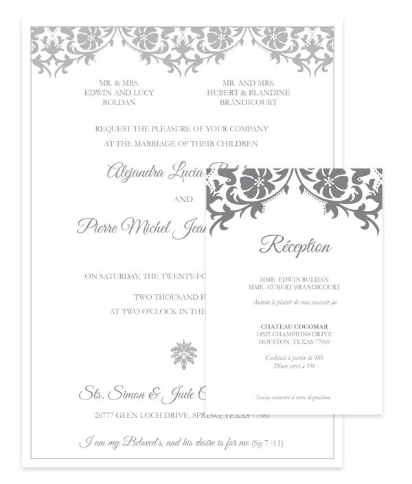am design shop, wedding invitation, french wedding invitation, ornamental wedding invite
