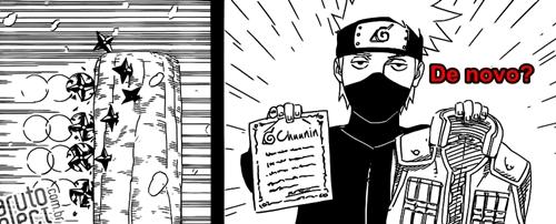 Erros do Mangá #599 do Naruto - Kakashi recebendo premio Chuunin
