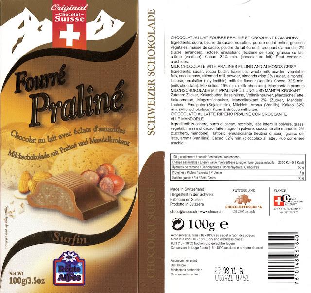 tablette de chocolat lait fourré orset la route des alpes fourré praliné