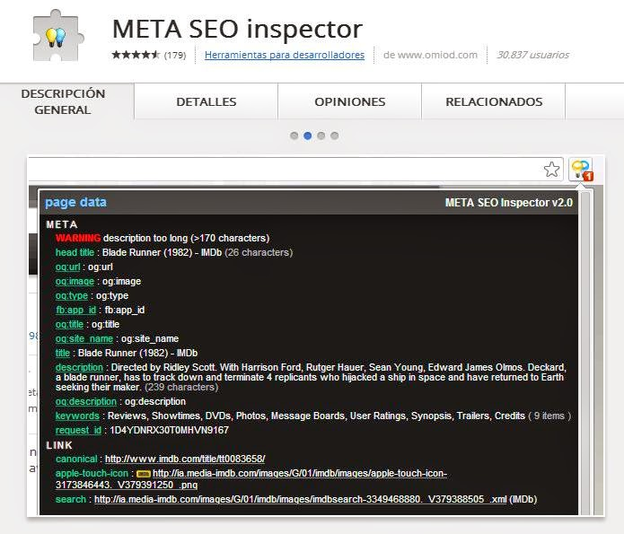 META SEO inspector Extension Google Chrome