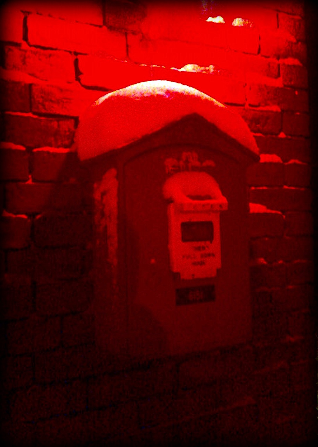 fire call box, fire station, red, salem, snow