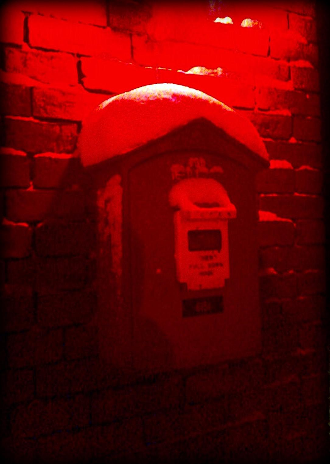 fire call box, fire station, red, salem, snow
