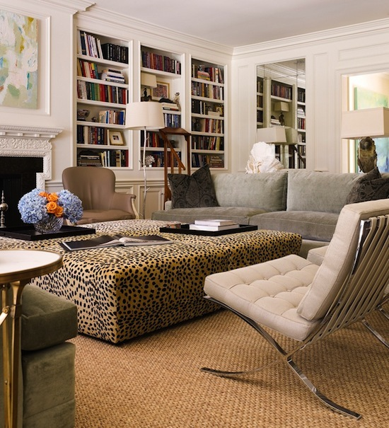 leopard print ottoman, le corbusier chairs
