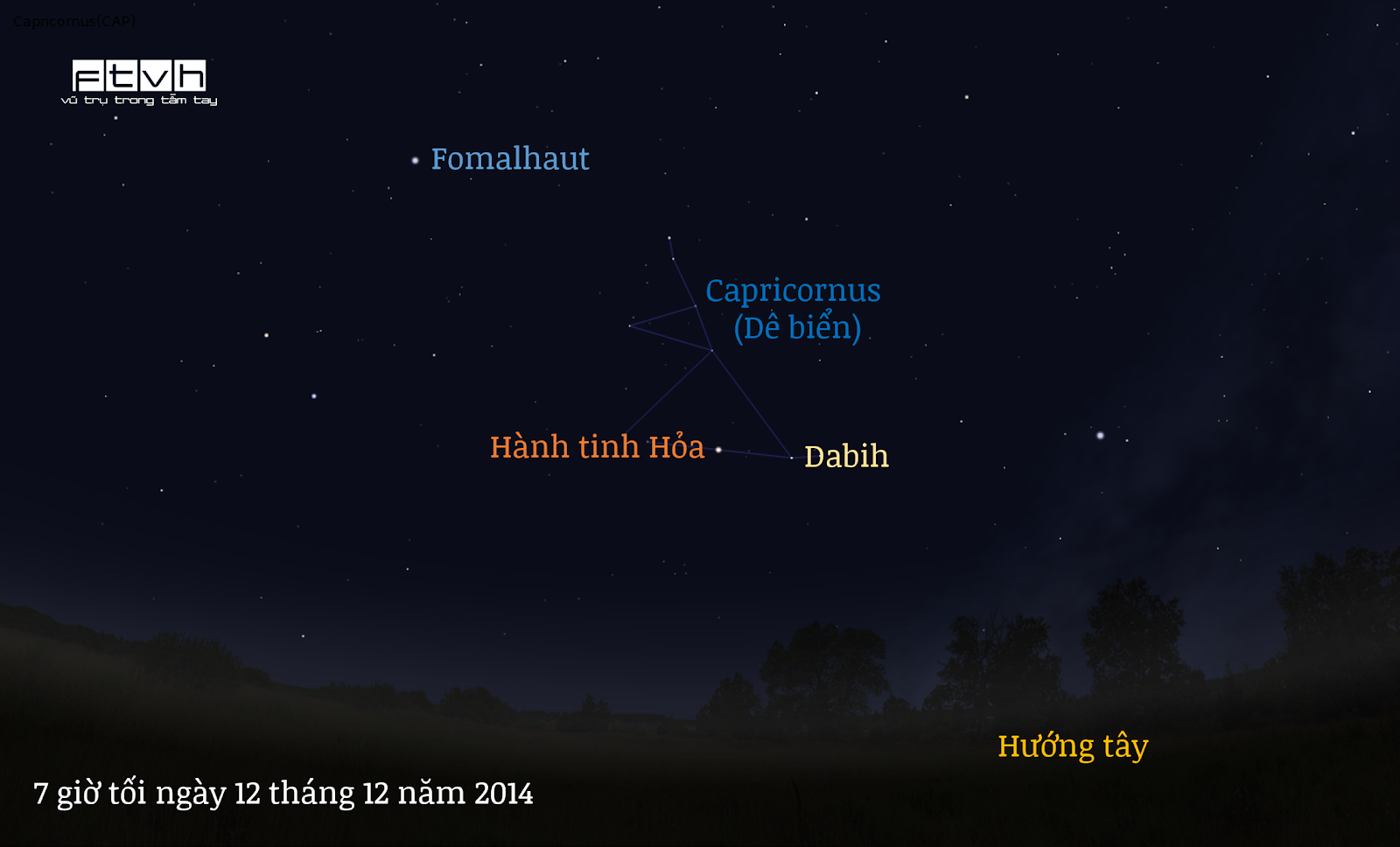 Minh họa bầu trời đêm hướng tây lúc 7 giờ tối ngày 12 tháng 12 năm 2014.