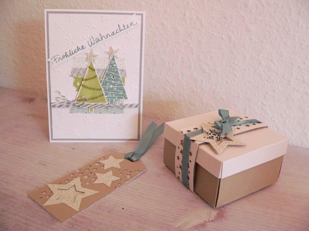 Weihnachten basteln Karte Box Geschenkanhänger
