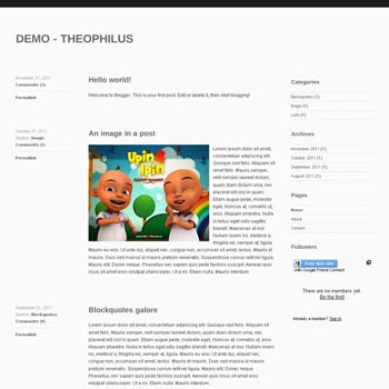 Theopilus Blogger Template convert from wordpress theme to blogger. minimalist design blogspot template