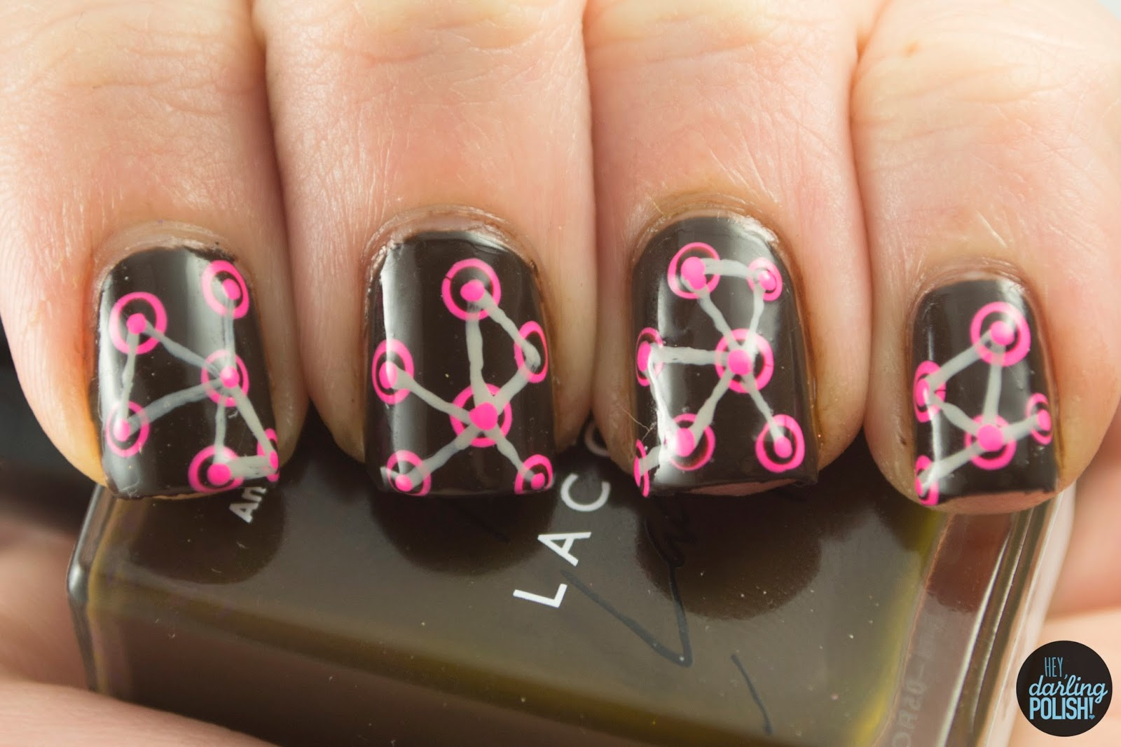 nails, nail art, nail polish, polish, brown, pink, grey, pattern, hey darling polish, tic, tri polish challenge
