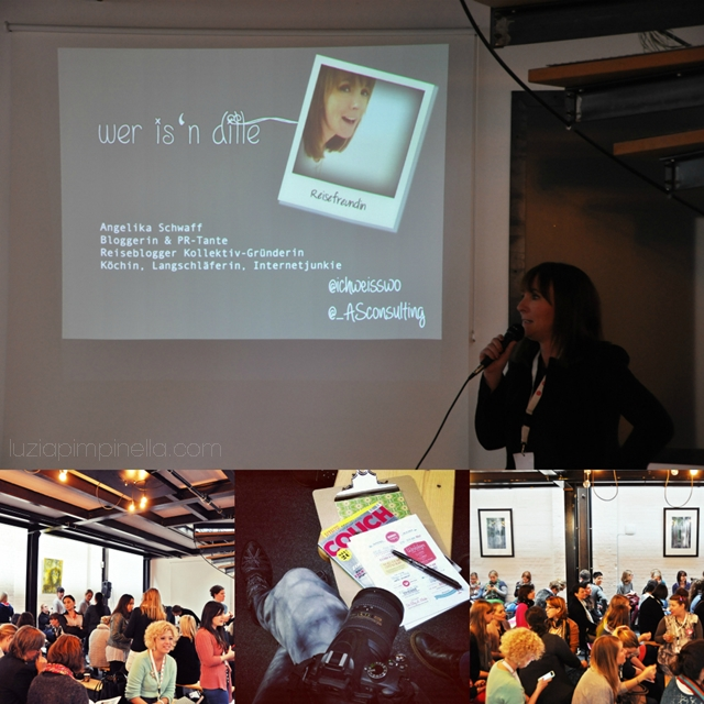 [ luzia pimpinella BLOG ] eine fotocollage mit bildern von der BLOGST blogger konferenz: angelika von reisefreunde referiert