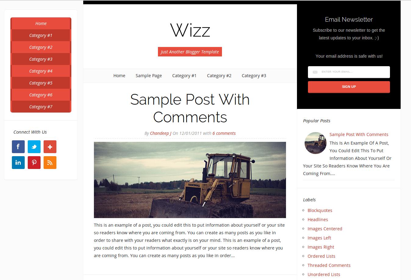 Wizz Responsive Blogger Template