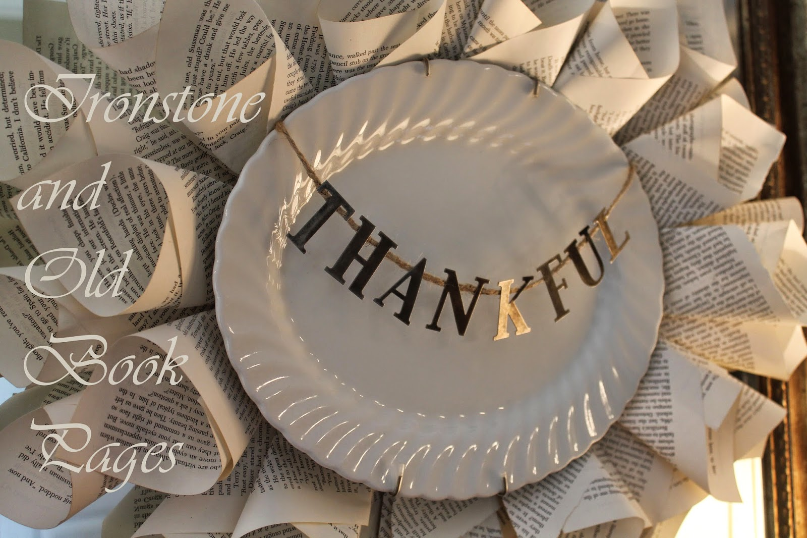 thankful, platter, ironstone, book pages