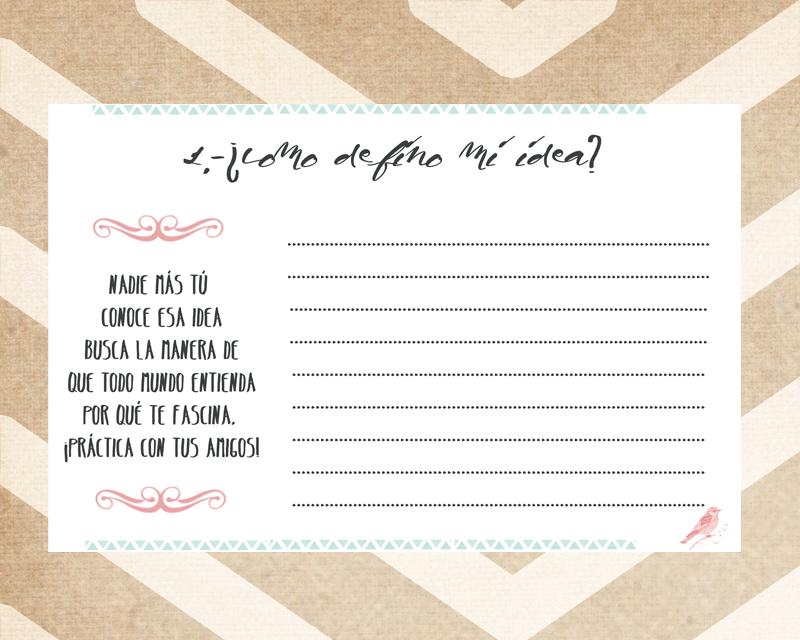 tarjeta imprimible para redactar tu idea de negocio
