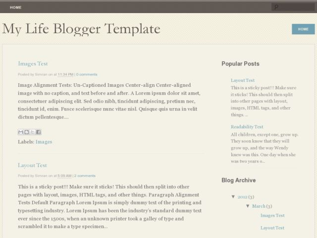 My Life Blogger Template