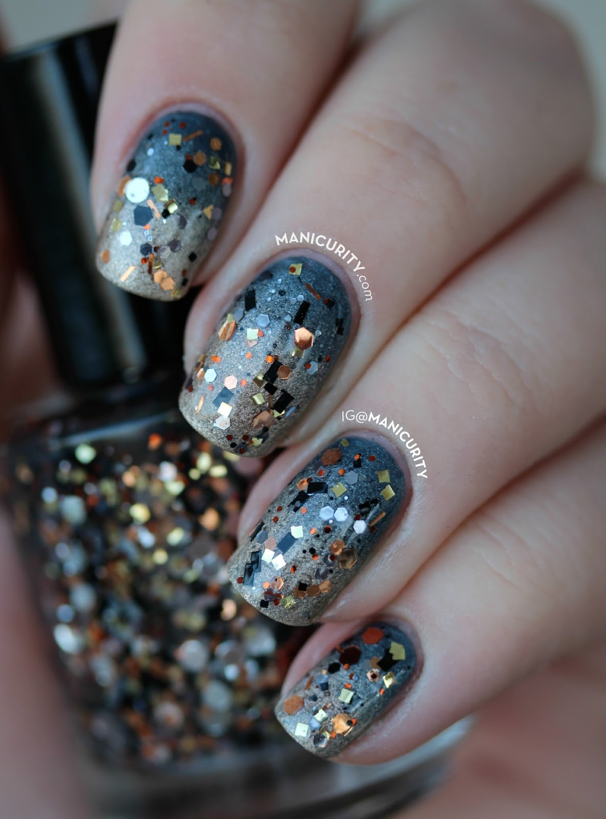 The Digit-al Dozen: Loaded Lacquer Steampunk'd Glittery Gradient Nails | Manicurity.com