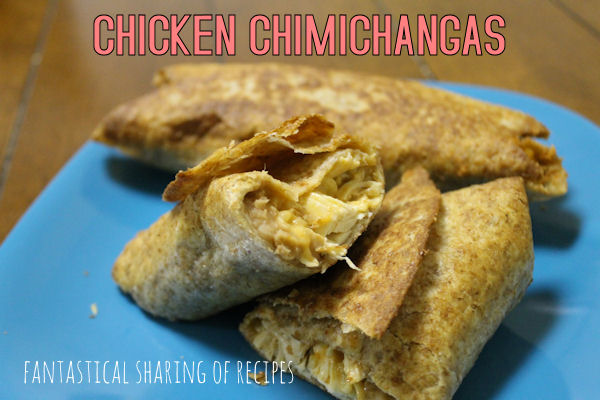Chicken Chimichangas | Tortillas stuffed with refried beans, chicken, cheese, and rice fried to perfection! | www.fantasticalsharing.com