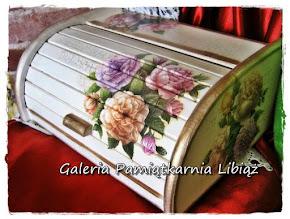 Chlebak Drewniany Mały Kwiaty Róże Pastelowe w Stylu Retro Decoupage Rękodzieło