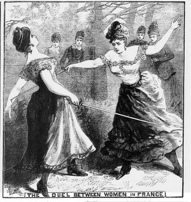 Women dueling with swords