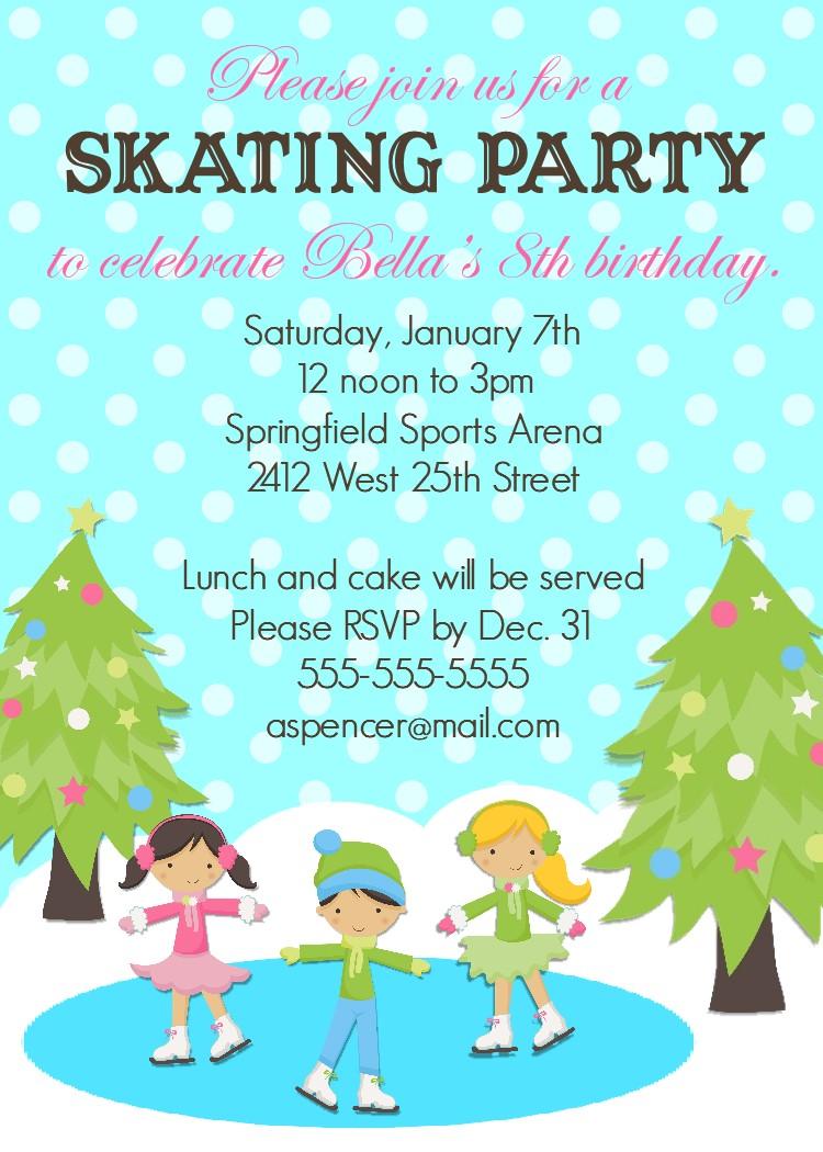 Bear River Photo Greetings: Ice Skating Birthday Party Invitation