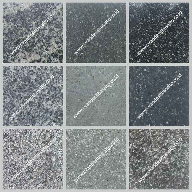 Batu Alam Andesit Basalto Hitam-Hijau-Putih Finishing Poles-Honed-Bakar