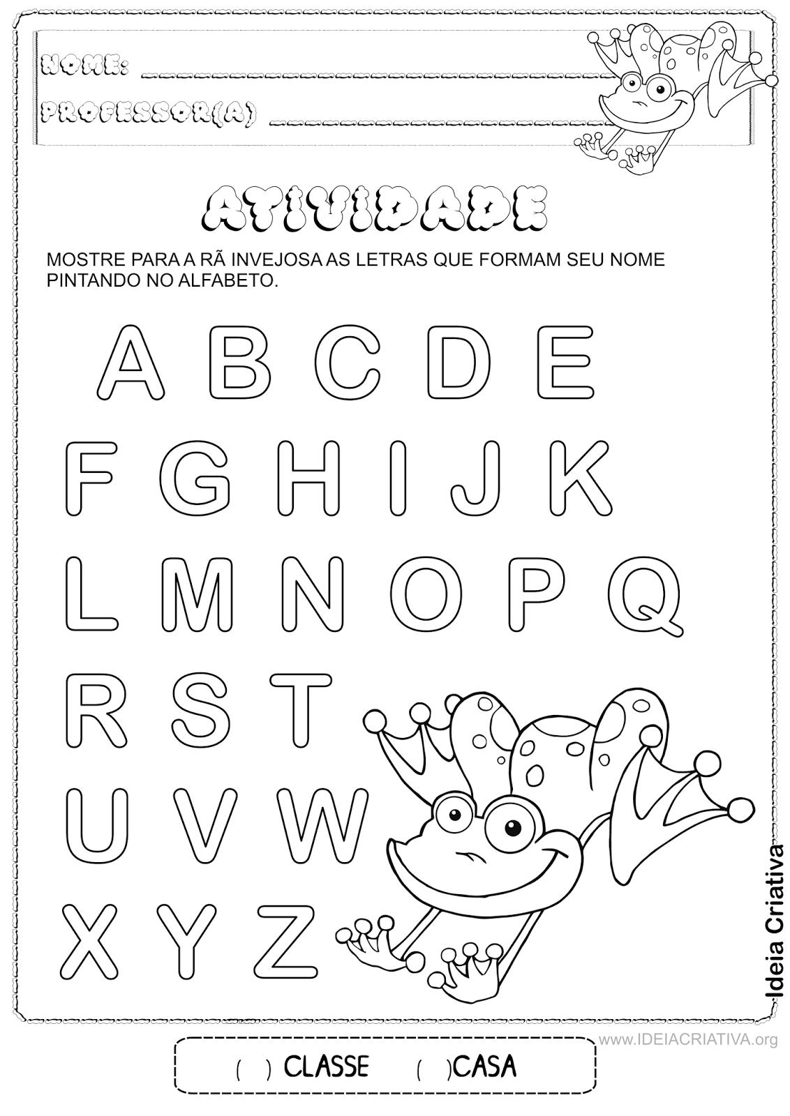 Atividade Alfabeto Rã Invejosa Identificação das letras do nome
