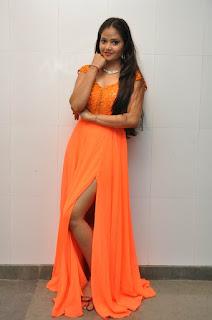 Shreya Vyas Gorgeous Floor length leg split Orange Dress at The Asura Movie Audio Release