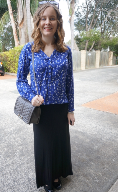 Away From Blue | Target printed shirt black jersey maxi skirt RM Love bag