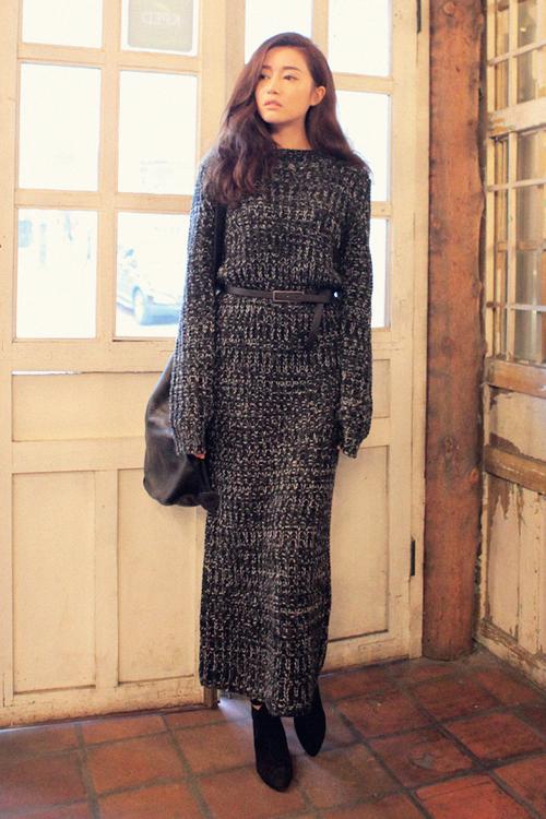 Knitting Pattern Long Dress : [Stylenanda] Color Blend Long Knit Dress KSTYLICK ...