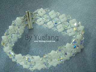 Lady_in_white_bracelet_with_4mm_Swarovski_crystal_opal alabaster_and Crystal AB