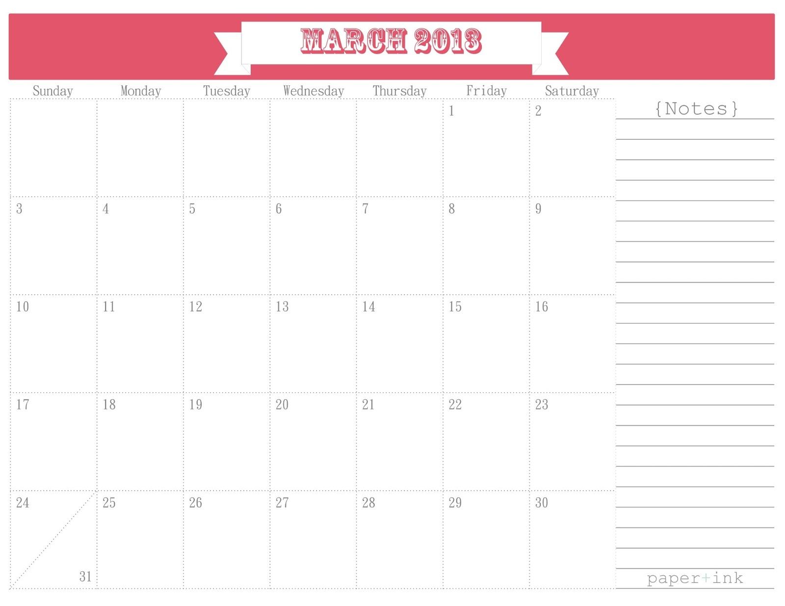 Pretty Unpretentious: Free Printable Calendars: March 2013