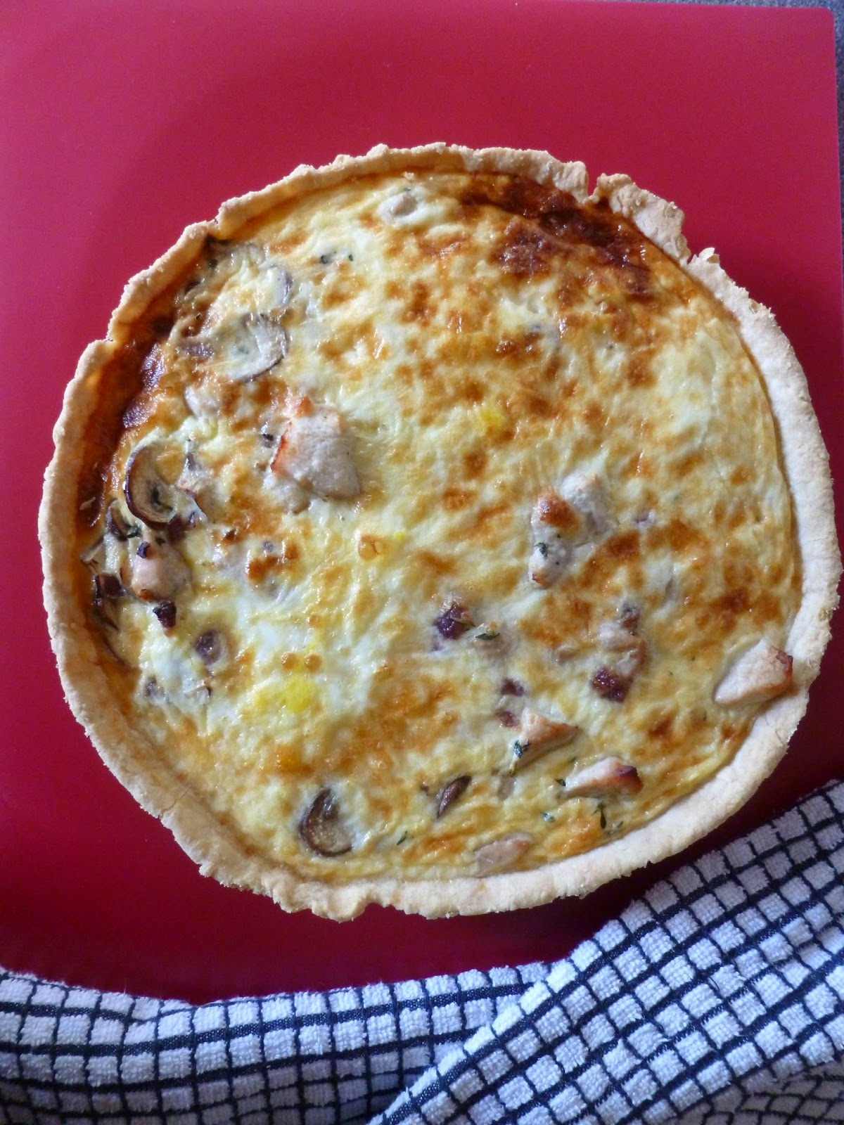 Chicken, Mushroom & Thyme Tart served on Chopping Board