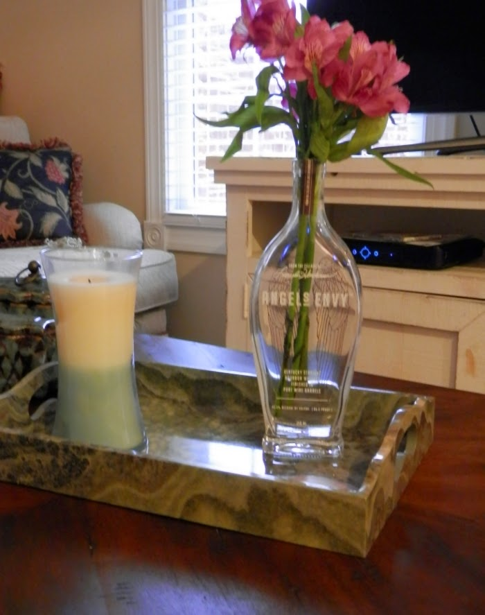 DIY liquor bottle flower vase