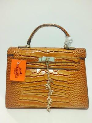 tas wanita terbaru, impor, import, tas branded Kelly Croco, Tas Kelly Croco warna Coklat, image