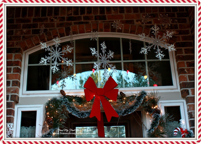 Winter Wonderland-Snowflakes From Ceiling-Christmas Front Porch-From My Front Porch To Yours