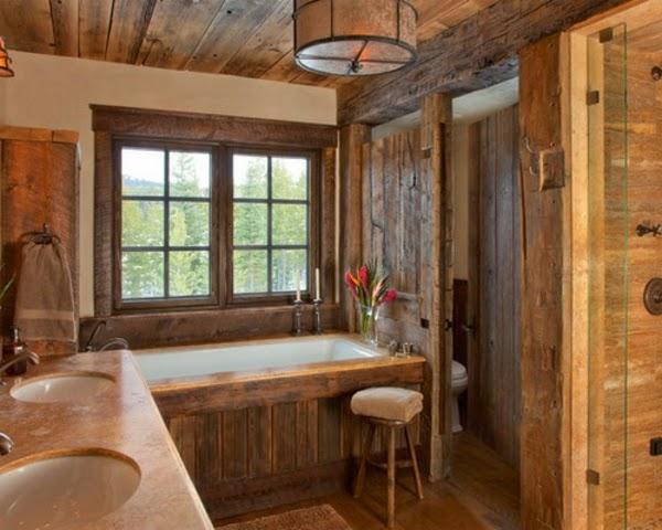 Baños Rusticos Disenos:El revestimiento del suelo en un baño rústico puede ser en terracota