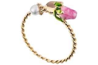 Bague perle et bouton de rose Les Néréides