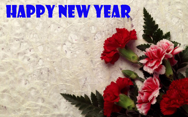 Happy new year flower greeting friends with flowers