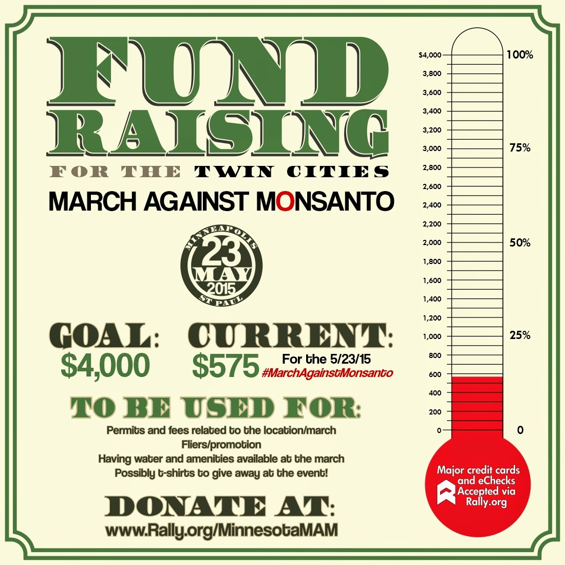 Fundraising for the 2015 Twin Cities #MarchAgainstMonsanto