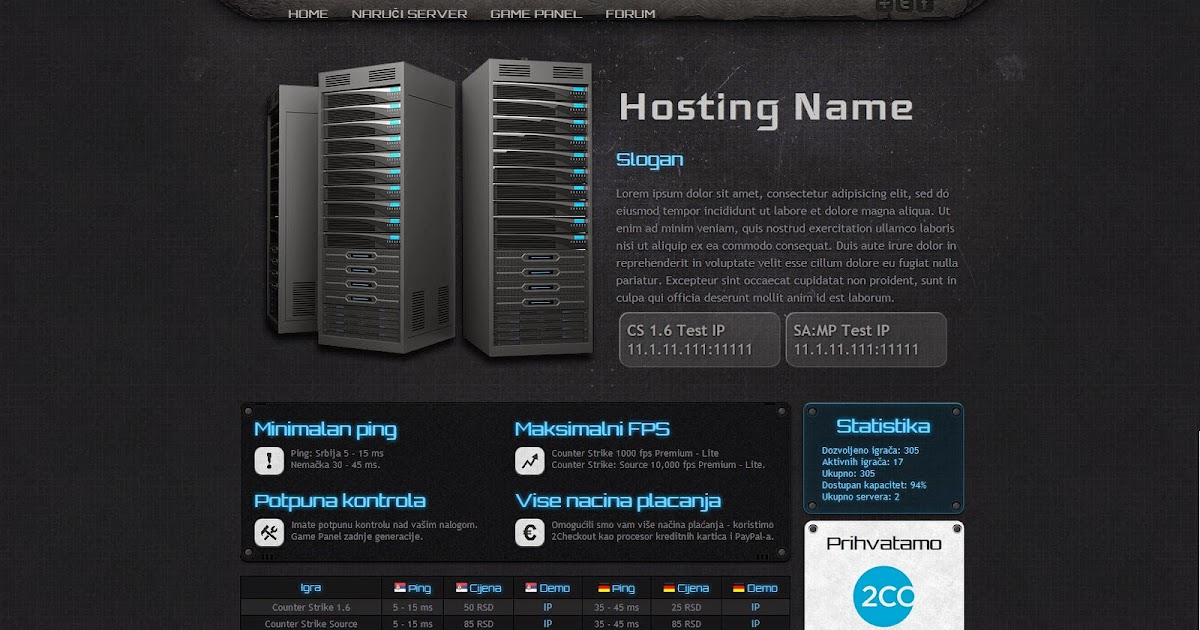 GameHosting Free Templates | wHc